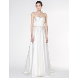 - A-line Wedding Dress - Ivory Court Train Strapless Satin