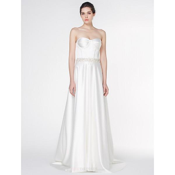 - A-line Wedding Dress - Ivory Court Train Strapless Satin Wedding Dresses