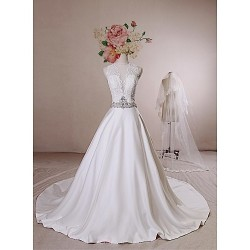 Ball Gown Wedding Dress Ivory Chapel Train Jewel Lace Satin Tulle Sequined