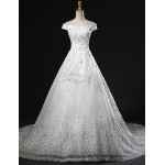 A-line Wedding Dress Chapel Train Off-the-shoulder Tulle Wedding Dresses