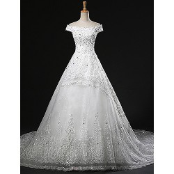 A-line Wedding Dress Chapel Train Off-the-shoulder Tulle