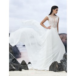 A Line Court Train Wedding Dress Jewel Chiffon