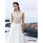 A-line Court Train Wedding Dress - Jewel Chiffon Wedding Dresses