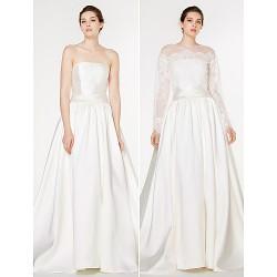 A Line Wedding Dress Ivory Sweep Brush Train Strapless Lace Satin