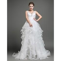 A-line Wedding Dress - Ivory Sweep/Brush Train V-neck Tulle
