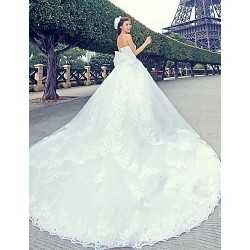 Princess Cathedral Train Wedding Dress Sweetheart Satin