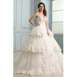 Ball Gown Wedding Dress - Ivory Chapel Train Strapless Tulle Wedding Dresses