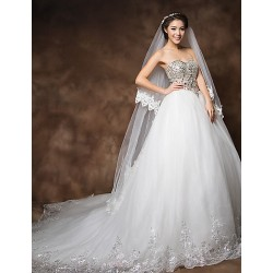 Ball Gown Cathedral Train Wedding Dress - Strapless Organza