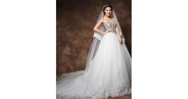 Cheap Fancy A Line Strapless Chapel Train Organza Simple: Ball Gown Cathedral Train Wedding Dress