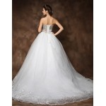 Ball Gown Cathedral Train Wedding Dress - Strapless Organza Wedding Dresses