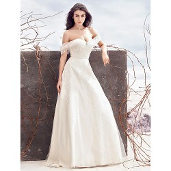 A-line Wedding Dress - Ivory Sweep/Brush Train Off-the-shoulder Tulle