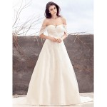 A-line Wedding Dress - Ivory Sweep/Brush Train Off-the-shoulder Tulle Wedding Dresses