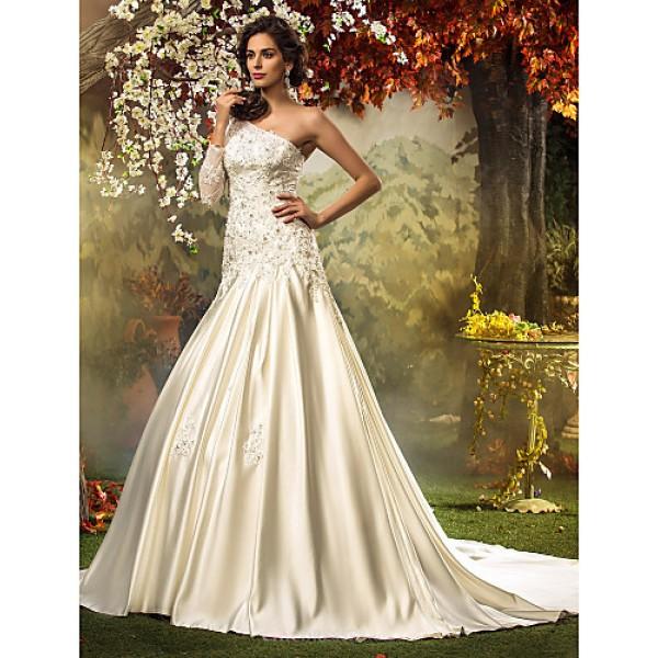Fit & Flare Plus Sizes Wedding Dress - Ivory Chapel Train One Shoulder Satin/Tulle Wedding Dresses