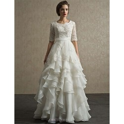A Line Floor Length Wedding Dress Scalloped Edge Lace