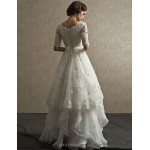 A-line Floor-length Wedding Dress -Scalloped-Edge Lace Wedding Dresses