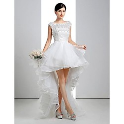 A Line Wedding Dress White Asymmetrical Scoop Lace Linen Tulle