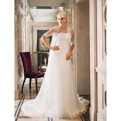 Sheath/Column Plus Sizes Wedding Dress - Ivory Court Train Strapless Tulle/Lace