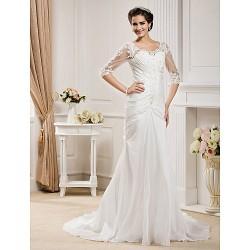Trumpet/Mermaid Plus Sizes Wedding Dress - Ivory Chapel Train Scoop Taffeta