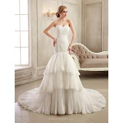 Trumpet/Mermaid Wedding Dress - White/Ivory Court Train Strapless/Sweetheart Satin