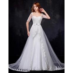 A-line Wedding Dress - White Chapel Train Square Organza