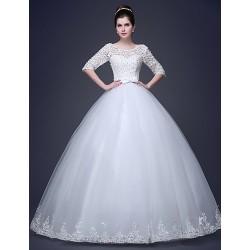 Ball Gown Floor Length Wedding Dress Sweetheart Satin