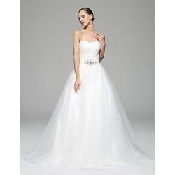 A-line Wedding Dress - White Chapel Train Sweetheart Lace / Organza