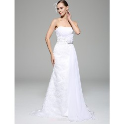 Sheath/Column Wedding Dress - White Court Train Strapless Chiffon / Lace