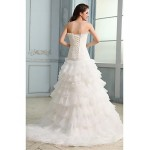 Ball Gown Wedding Dress - White Court Train Strapless Organza Wedding Dresses