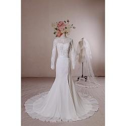 Trumpet Mermaid Wedding Dress Ivory Court Train Scoop Chiffon Lace Tulle
