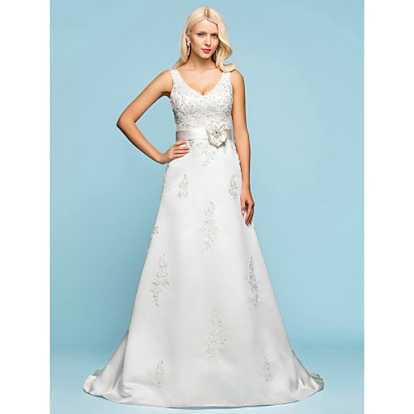 A-line/Princess Plus Sizes Wedding Dress - Ivory Court Train V-neck Satin Wedding Dresses