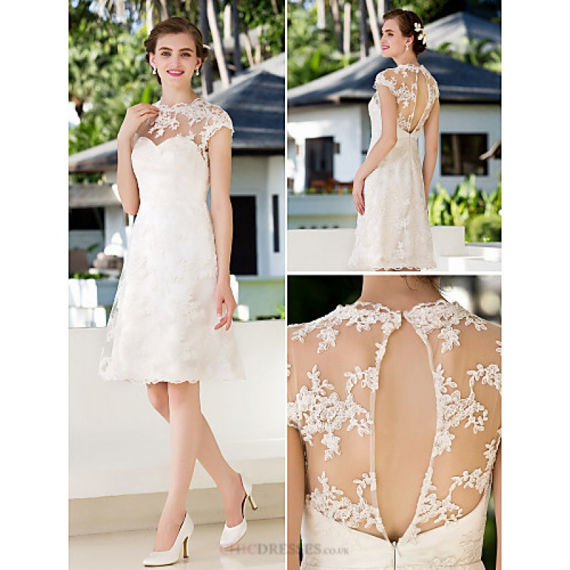 A-line Petite / Plus Sizes Wedding Dress - Ivory Knee-length Jewel ...