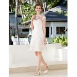 A-line Petite / Plus Sizes Wedding Dress - Ivory Knee-length Jewel Lace Wedding Dresses