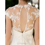 A-line Petite / Plus Sizes Wedding Dress - Ivory Knee-length Jewel Lace Wedding Dresses