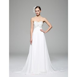 A-line Wedding Dress - White Chapel Train Sweetheart Chiffon