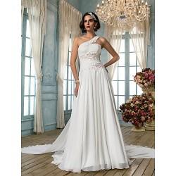 A-line/Princess Wedding Dress - Ivory Court Train One Shoulder Chiffon/Satin/Tulle/Lace