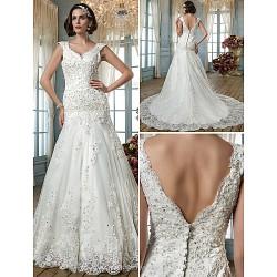 Trumpet Mermaid Plus Sizes Wedding Dress Ivory Court Train Queen Anne Tulle