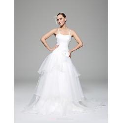 A Line Wedding Dress White Chapel Train Spaghetti Straps Organza Satin
