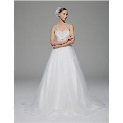 A-line Wedding Dress - White Chapel Train Straps Organza