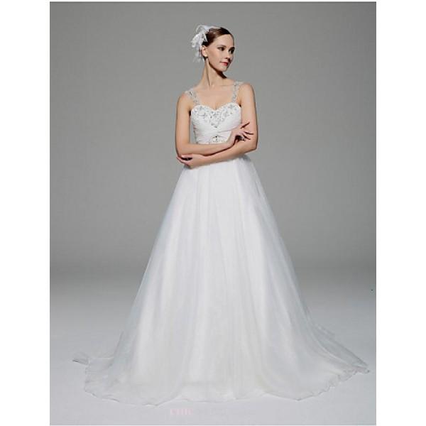 A-line Wedding Dress - White Chapel Train Straps Organza Wedding Dresses