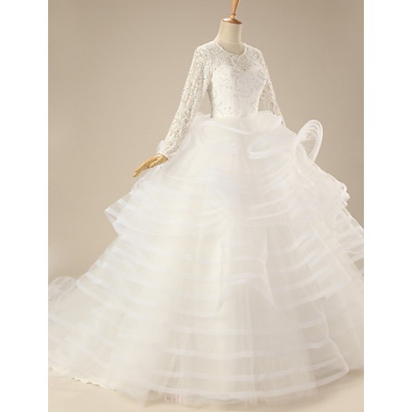 Ball Gown Wedding Dress - White Chapel Train Square Organza Wedding Dresses