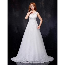 A-line Wedding Dress - White Court Train V-neck Organza