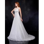 A-line Wedding Dress - White Court Train V-neck Organza Wedding Dresses