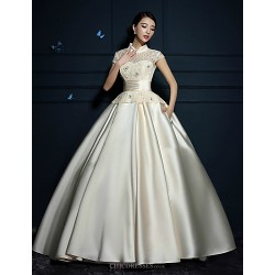 Ball Gown Wedding Dress - Ruby/Champagne Floor-length High Neck Satin