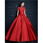Ball Gown Wedding Dress - Ruby/Champagne Floor-length High Neck Satin Wedding Dresses