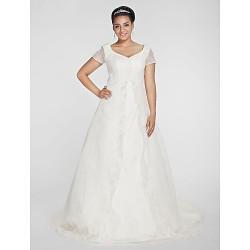 A-line/Princess Plus Sizes Wedding Dress - Ivory Chapel Train V-neck Organza
