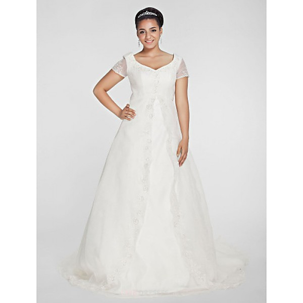 A-line/Princess Plus Sizes Wedding Dress - Ivory Chapel Train V-neck Organza Wedding Dresses