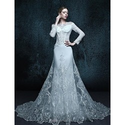 A-line Chapel Train Wedding Dress - Scoop Lace