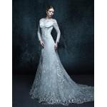 A-line Chapel Train Wedding Dress - Scoop Lace Wedding Dresses