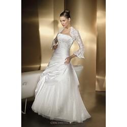 A Line Wedding Dress Floor Length Sweetheart Satin Chiffon