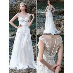 A Line Wedding Dress Ivory Court Train Scoop Chiffon Stretch Satin